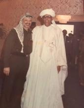 صورة تجمع الدكتور محمد المختار ولد اباه رفقة الزعيم الفلسطيني الراحل ياسر عرفات